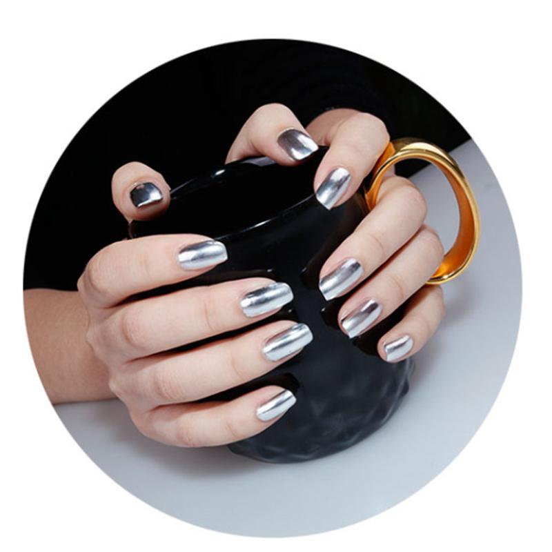 2pcs miroir argent m tallique vernis ongles metal top for Vernis miroir argent